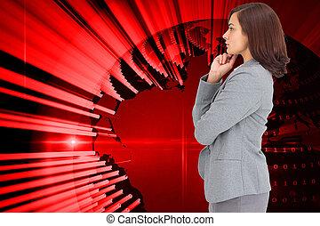 samengestelde afbeelding, het concentreren, businesswoman
