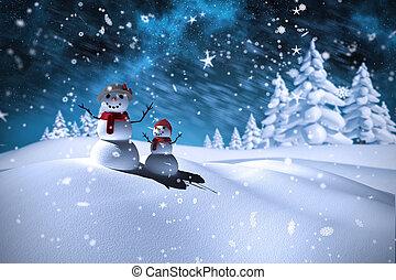 samengestelde afbeelding, sneeuwpop, gezin