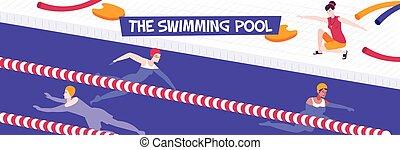 samenstelling, pool, zwemmen, horizontaal