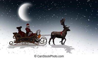 santa claus, arreslee, kerstmis, reindeers, animatie, -