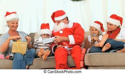 santa claus, gezin, vrolijke
