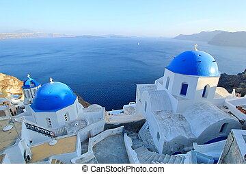 santorini, blauwe , kerken, koepels, griekenland, orthodox