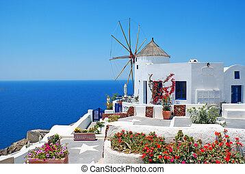 santorini, traditionele , eiland, griekenland, oia, architectuur, dorp