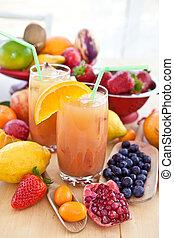 sap, fris, gevarieerd, vruchten