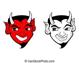 satan, duivel, kunst, /, klem