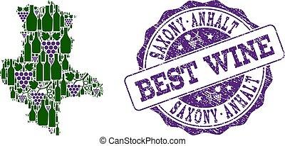 saxony-anhalt, kaart, druif, collage, postzegel, staat, best, wijntje