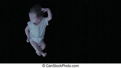 scanderen, pasgeboren, girl., futursitic, baby, biometric