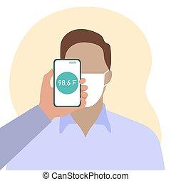 scanderen, temperatuur, mensen, gezondheid, afstand, telefoon