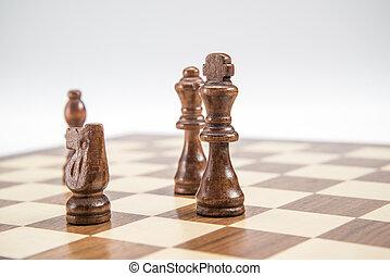 schaakbord, schaakstukken