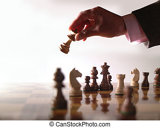 schaakspel, hand