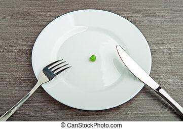 schaaltje, concept., dieet, een, witte , erwt, lege