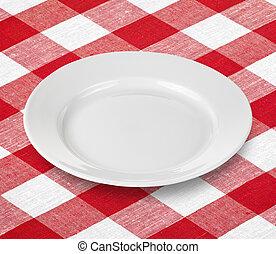 schaaltje, gingham, rode tablecloth, witte , lege