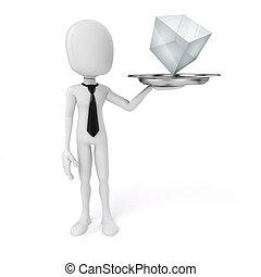 schaaltje, kubus, informatietechnologie, glas, vasthouden, man, zilver, 3d