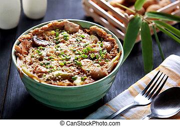 schaaltje, rijstkom, japanner, oyakodon