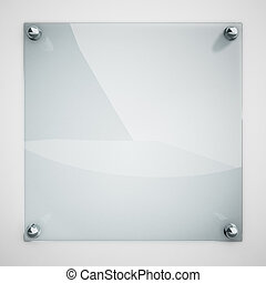 schaaltje, vastgemaakte, muur, metaal, glas, bescherming, rivets., witte