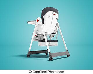 schaduw, moderne, highchair, achter, 3d, witte , kind, achtergrond, het voeden, render, steun, blauwe , zacht