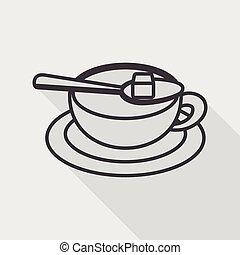 schaduw, pictogram, eps10, koffie, lang, plat