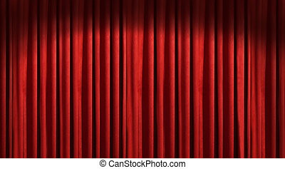 schaduwen, donker, theater, rood gordijn