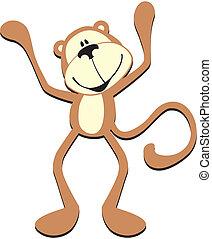 schattig, aap, vrolijke