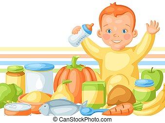 schattig, achtergrond, items., baby voedsel, weinig; niet zo(veel)