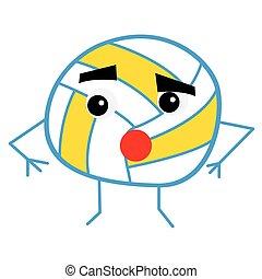 schattig, bal, character., spotprent, volleybal