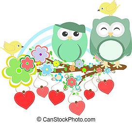 schattig, bloem, boompje, twee, uilen, tak, vogel