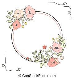 schattig, bloem, bouquet., illustratie, vector, laurier, kaart