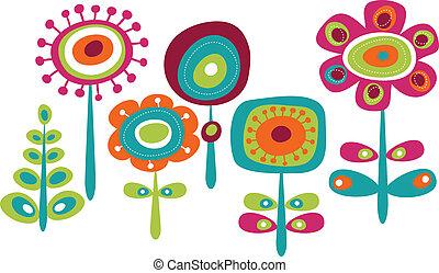 schattig, bloemen, kleurrijke