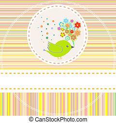 schattig, bloemen, vector, vogels, kaart