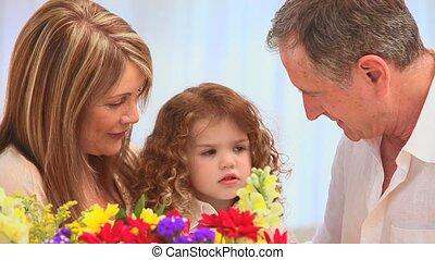 schattig, bos, gezin, bloemen