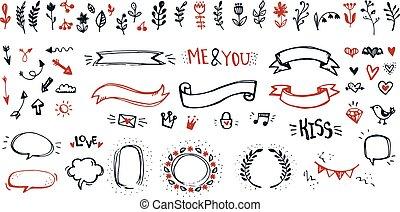 schattig, communie, romantische, doodle, set., hand, versiering, sketchy, voorwerpen, ontwerp, getrokken
