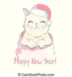 schattig, concept, tekst, warmest, ontwerp, wishes., gezicht, gekke , winter, vrijstaand, feestdagen, achtergrond., kerstmis., getrokken, witte , claus, illustratie, hand, voorwerpen, hoedje, kerstman, geitjes, kat, vector, muffler