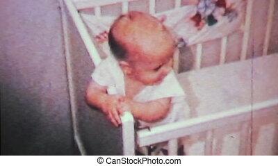 schattig, crib-1964, zijn, 8mm, jongen, baby