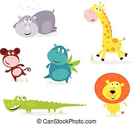 schattig, dieren, zes, -, safari, giraffe