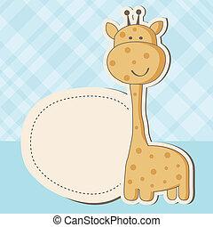 schattig, douche, giraffe, baby meisje, kaart