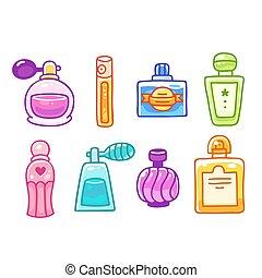 schattig, flessen, parfum