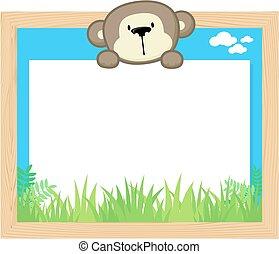 schattig, frame, aap