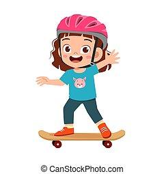 schattig, geitje, meisje, toneelstuk, vrolijke , weinig; niet zo(veel), skateboard