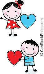 schattig, geitjes, figuur, valentine, stok, vasthouden, hartjes, dag