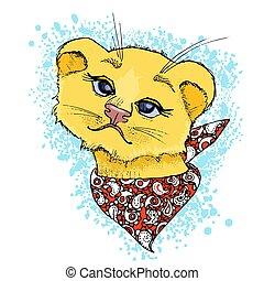 schattig, gekke , face., getrokken, leeuw, hand, vector, illustratie