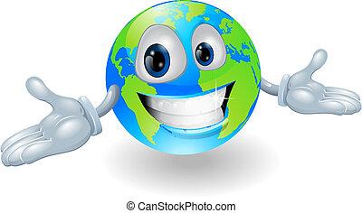 schattig, globe, karakter, vrolijke