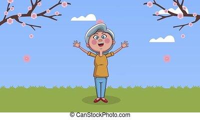 schattig, grootmoeder, akker, animatie