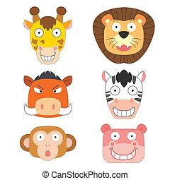 schattig, hoofd, dier, pictogram
