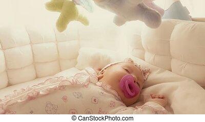 schattig, kinderbed, haar, slapende, baby meisje