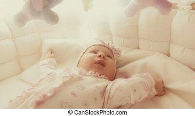 schattig, kinderbed, haar, speels, baby meisje