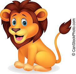 schattig, leeuw, spotprent