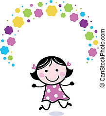 schattig, meisje, bloemen, juggling, doodle