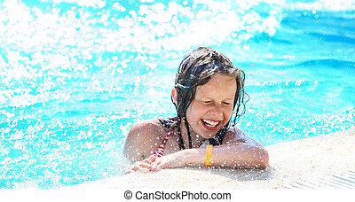 schattig, meisje, pool., relaxen, zwemmen