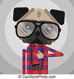 schattig, mode, aanhalen, pug hond, hipster