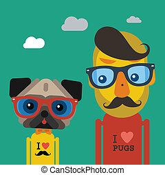 schattig, mode, aanhalen, pug hond, hipster, man
